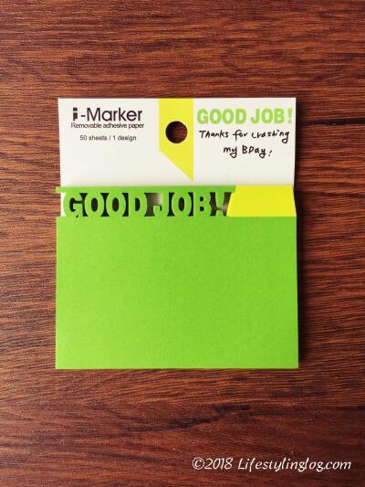GOOD JOBの文字がデザインされた知音文創のi-Markerの付箋