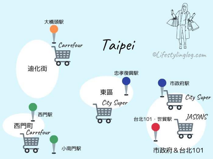 台北市内にあるスーパーのロケーションマップ