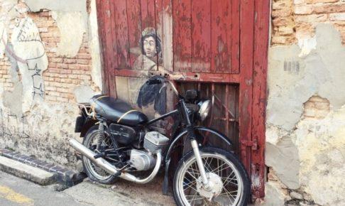 ペナンのストリートアート(boy on a bike)