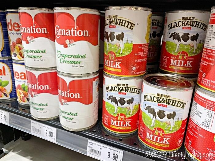 カーネーションとBLACk&WHITEのエバミルク(無糖練乳)