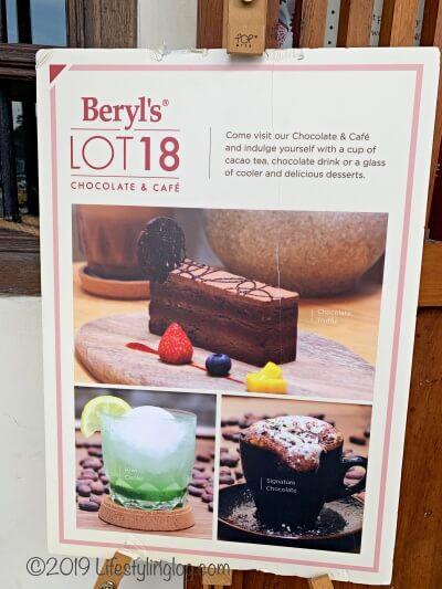 クアラルンプールのチャイナタウンにあるBeryl's LOT18のカフェメニュー