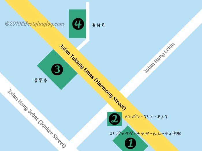 マラッカのHarmony Street(ハーモニーストリート)のイメージマップ