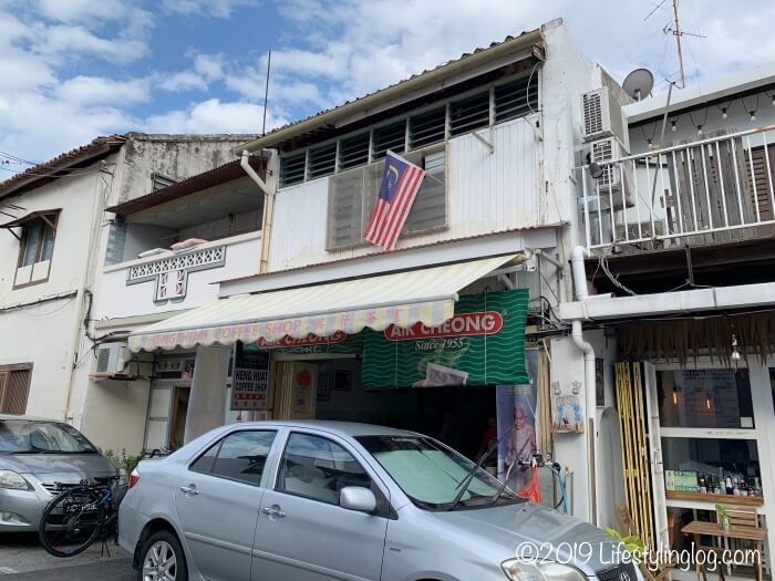 マラッカにある興發茶餐室(Heng Huat Coffee Shop)の店舗外観