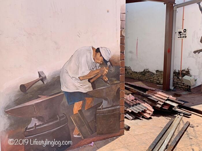 鍛冶屋を描いたマラッカのストリートアート