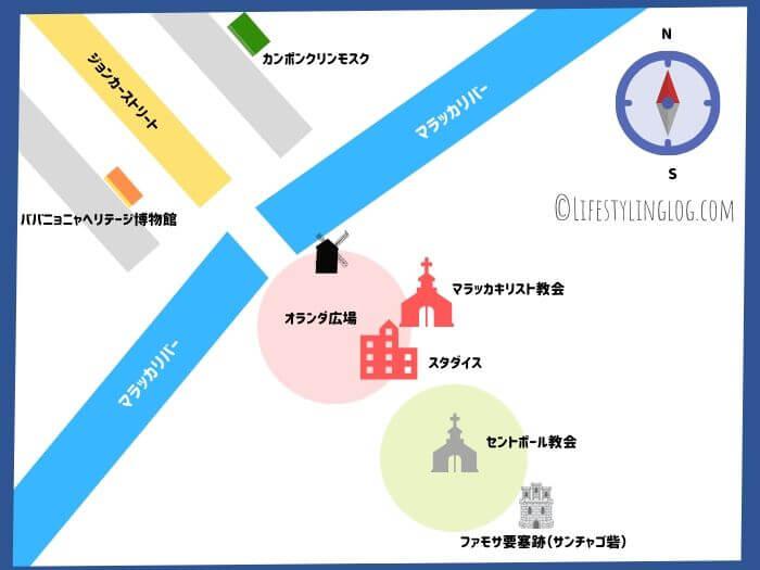 マラッカ市内観光スポットイメージマップ