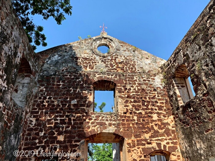 屋根のないマラッカのセントポール教会