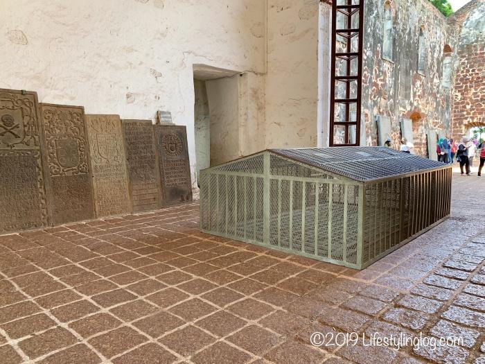 マラッカのセントポール教会にあるフランシスコ・ザビエルが安置されていた場所