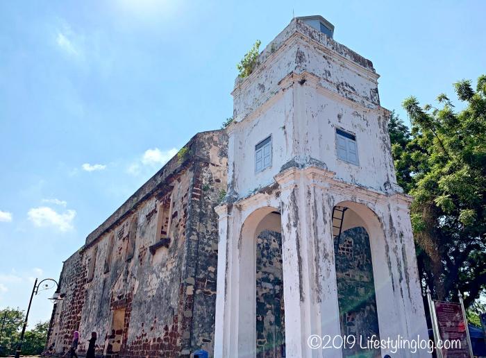マラッカのセントポール教会にあるタワーとチャペルの旧跡