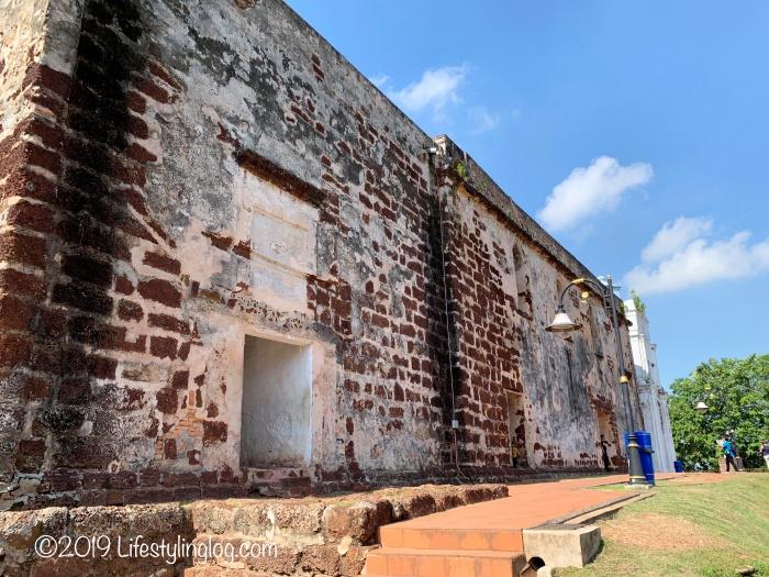 マラッカのセントポール教会の外壁