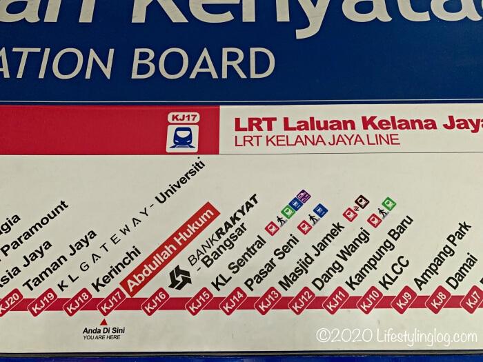 LRT(Kelana Jaya Line)の路線図