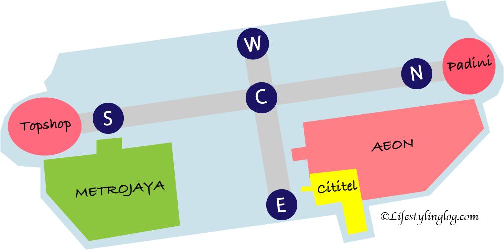 ミッドバレーメガモールのGフロアのイメージマップ
