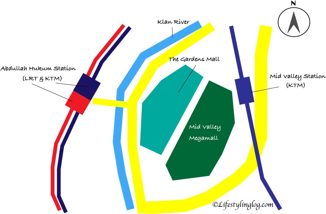 Mid Valley Megamall(ミッドバレーメガモール)とThe Gardens Mall(ザ・ガーデンズモール)と最寄駅の地図