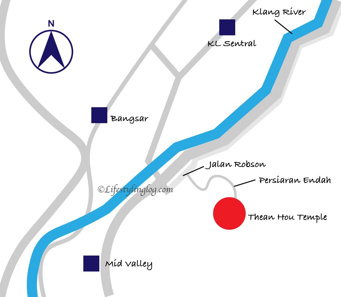 クアラルンプールの天后宮(Thean Hou Temple)と駅の位置を示す地図