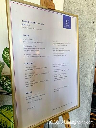 ブルーマンション(Cheong Fatt Tze Mansion)のレストラン(Indigo)のメニュー
