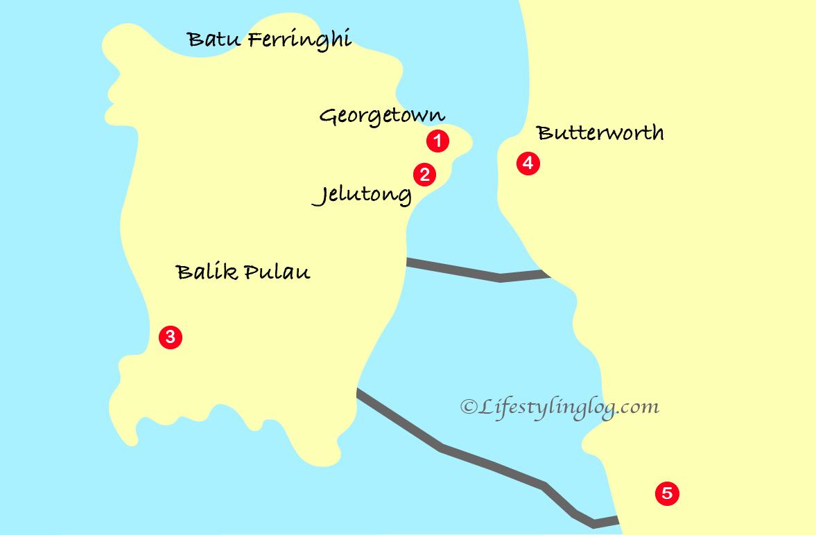 ペナン州のコンテナアート位置情報イメージマップ