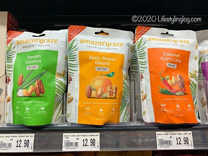 スーパーで販売されているAmazin' Grazeのミックスナッツ商品