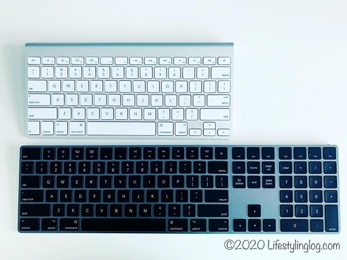 アップルワイヤレスキーボードとマジックキーボードの大きさ比較