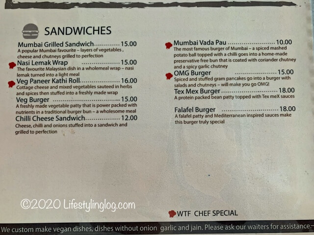 WTF Restaurantのサンドイッチメニュー