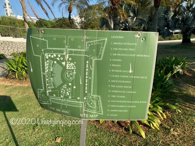 コーンウォリス要塞(Fort Cornwallis)の園内マップ