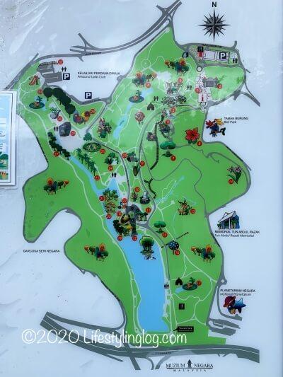 クアラルンプール植物園(旧レイクガーデン)の地図