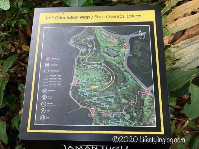 Taman Tuguのメイントレイルの地図