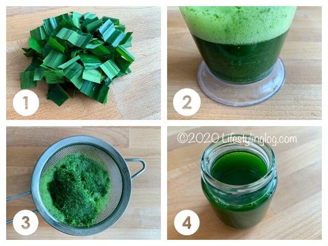 フレッシュなパンダンリーフから抽出液を作る方法