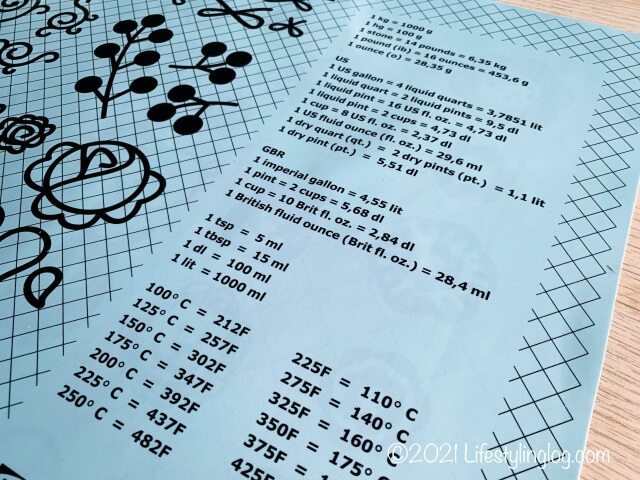IKEA(イケア)SOCKERKAKA(ソッケルカーカ)のベーキングマットに描かれている計量換算表