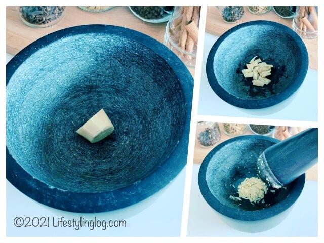 IKEAのÄDELSTEN(エーデルステン)の乳棒&乳鉢で砕いた生姜