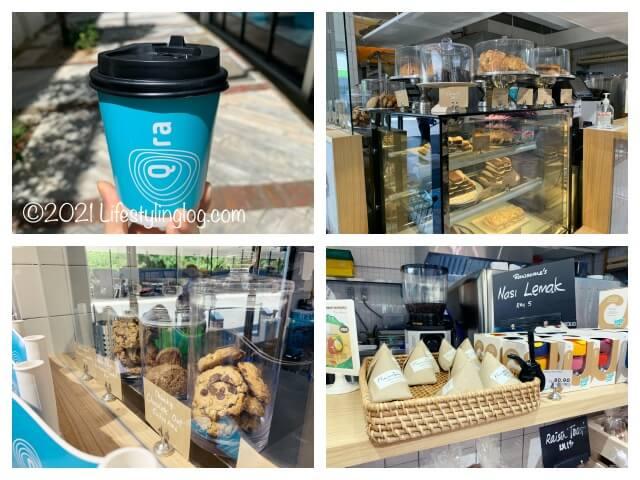 Qra@The Storiesの店内にあるカフェコナーで販売しているドリンクやケーキなどの軽食