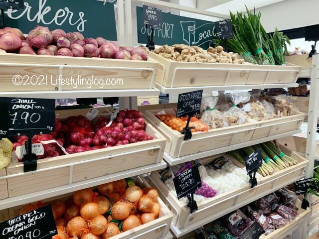 Qra@The Storiesの店内で販売されている野菜
