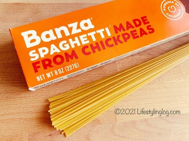 ひよこ豆で作られたBanzaのスパゲティー