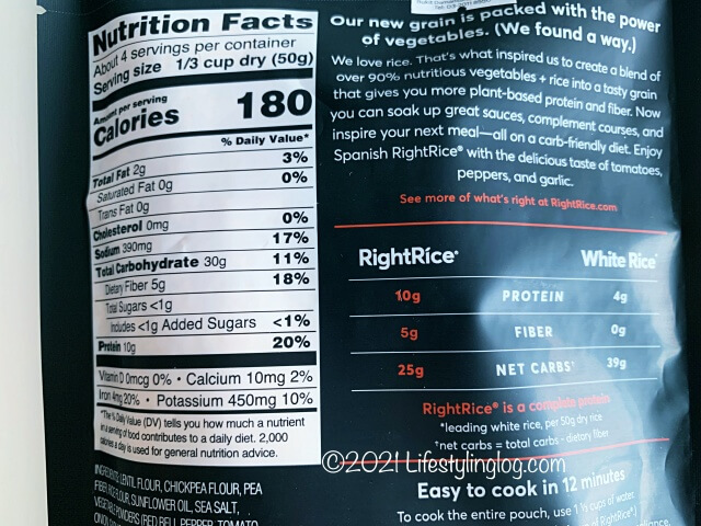 RightRice(ライトライス)スパニッシュフレーバーの栄養成分表記