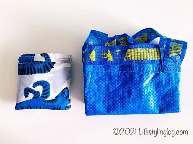 IKEA(イケア)SKYNKE(スキンケ)のエコバッグとBRATTBY(ブラットビー)の折りたたみ比較