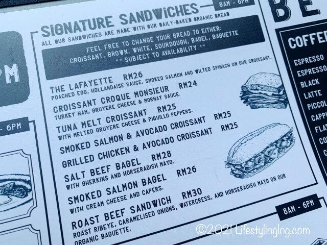 Kenny Hills Bakersのサンドイッチメニュー