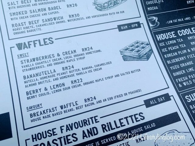 Kenny Hills Bakersのワッフルメニュー
