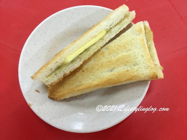 阿榮哥海南茶(Ah Weng Koh Hainan Tea )のカヤトースト1セット
