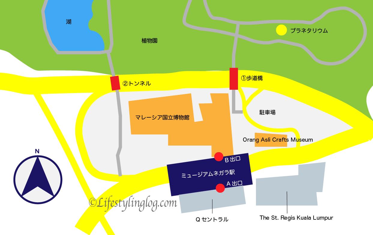 ミュージアムネガラ駅からクアラルンプール植物園へのアクセスマップ