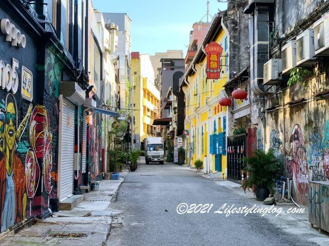 鬼仔巷(Kwai Chai Hong)のストリートがあるLorong Panggung