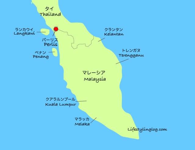 Perlis(パーリス)の位置を示すマレーシアの地図