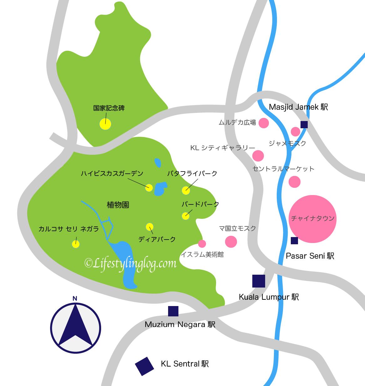 クアラルンプール植物園のイメージマップ