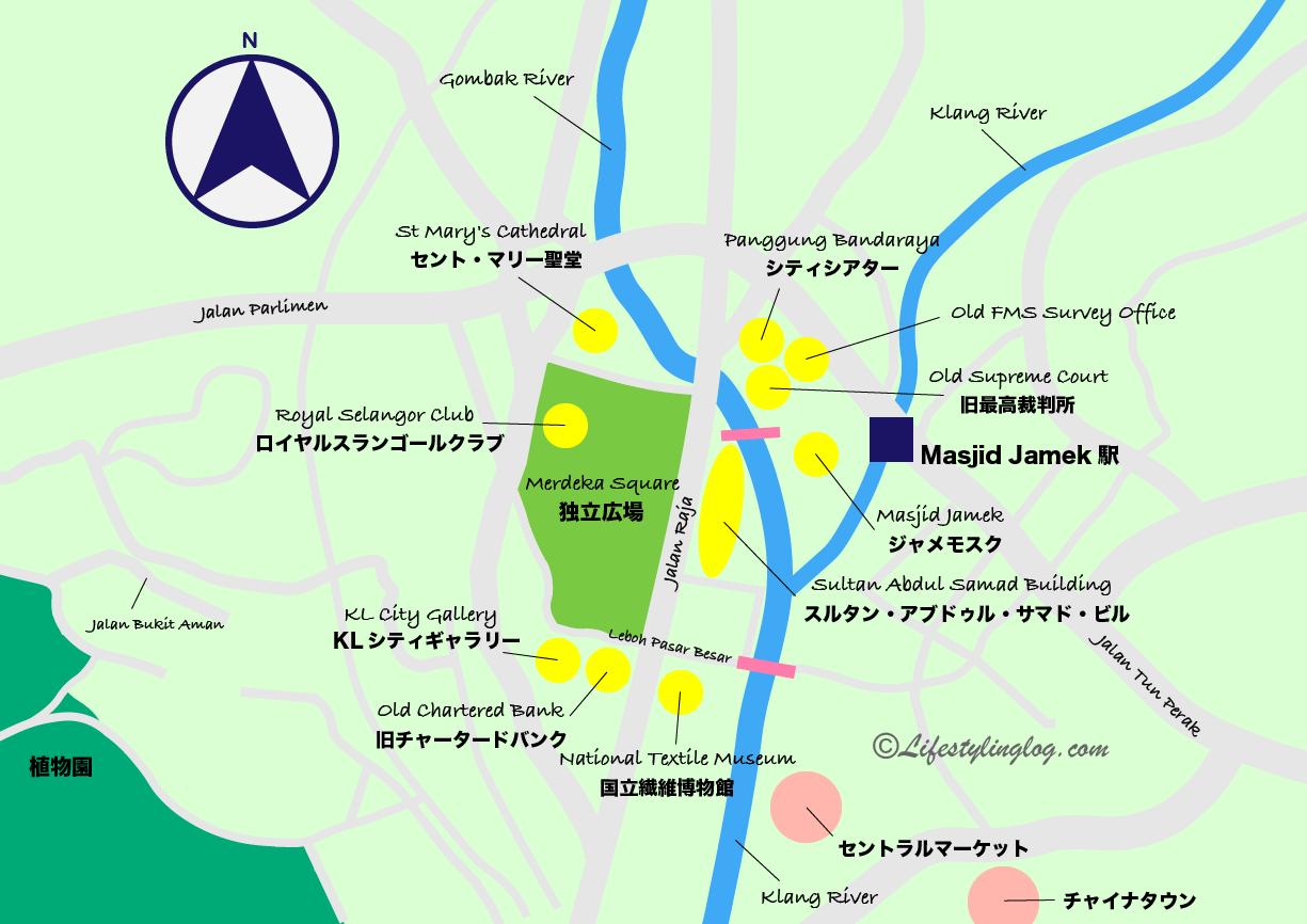 ジャメモスク周辺の観光スポットをまとめたイメージマップ
