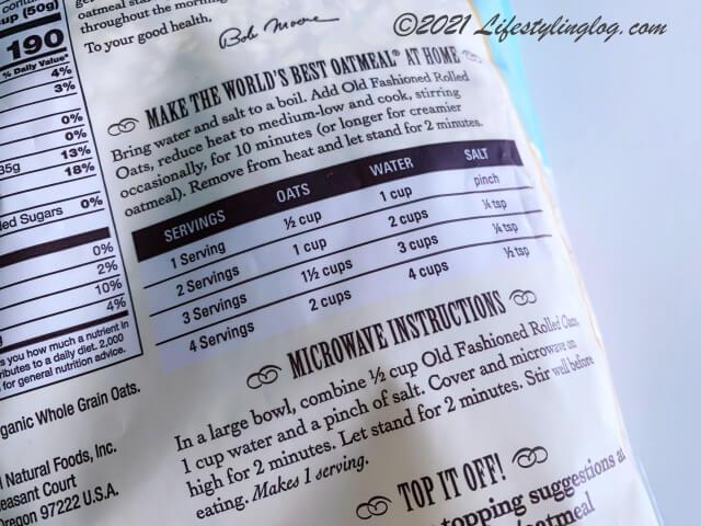Bob's Red Mill(ボブズレッドミル)のオーガニックオールドファッションドロールドオーツの商品に記載されている作り方説明