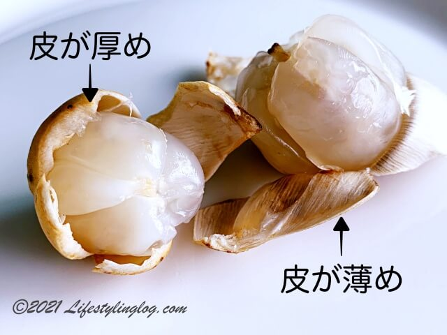 マレーシアのDuku(ドゥク)・Langsat(ランサ)・ Dokong(ドコン)の違い(果皮の厚み)