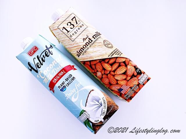 ココナッツミルクドリンクとアーモンドミルク