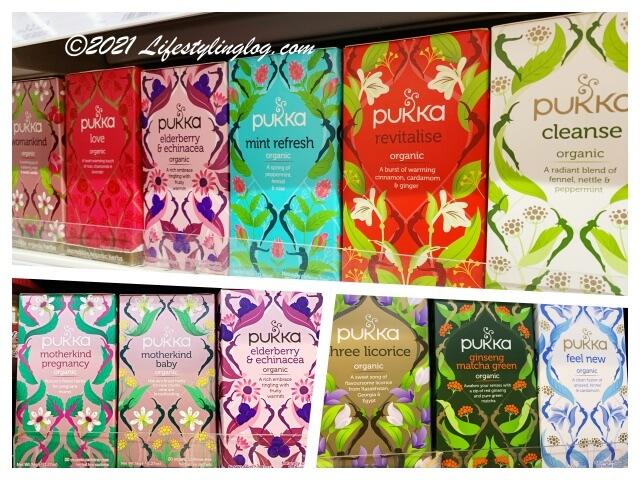 スーパーで販売されているバラエティ豊なPukka(パッカ)のハーバルティー商品の種類