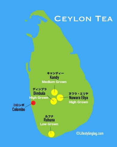 スリランカ産のセイロンティーの主要な産地の地図(イメージマップ)