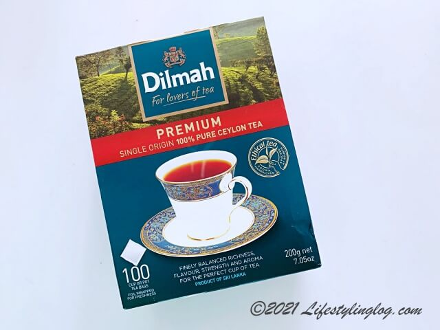 Dilmah(ディルマ)のプレミアムシングルオリジンピュアセイロンティーのティーパック