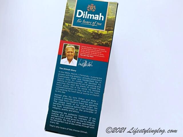 Dilmah(ディルマ)の商品パッケージに記載されている創業者と理念についての情報
